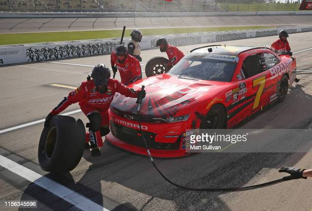 Justin Allgaier, driver of the BRANDT Professional Agriculture Chevrolet, pits during the NASCAR Xfinity Series CircuitCity.com 250 Presented by...