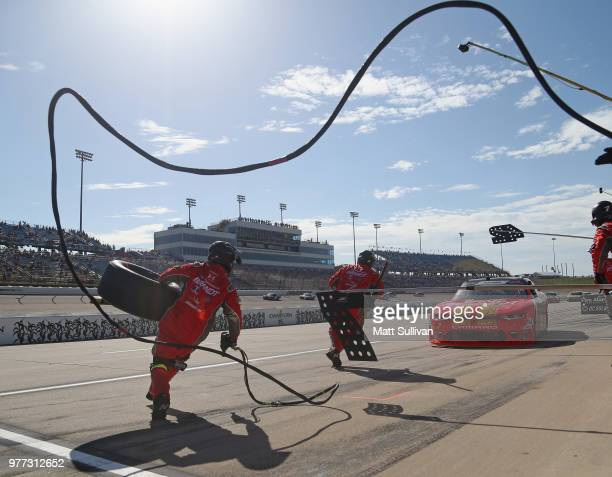 Justin Allgaier driver of the BRANDT Professional Agriculture Chevrolet pits during the NASCAR Xfinity Series Iowa 250 presented by Enogen at Iowa...