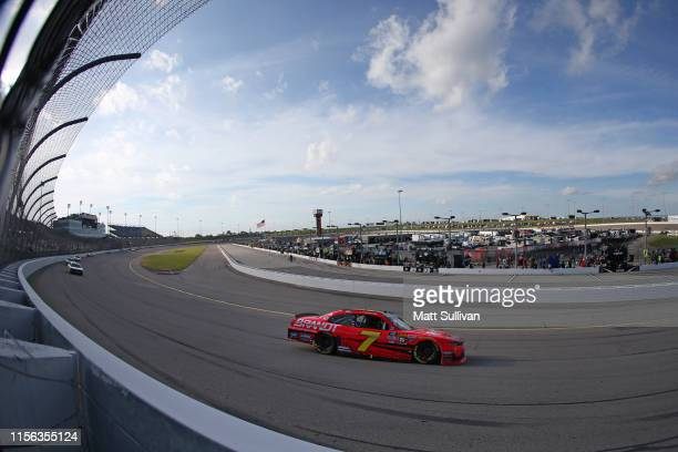 Justin Allgaier driver of the BRANDT Professional Agriculture Chevrolet races during the NASCAR Xfinity Series CircuitCitycom 250 Presented by Tamron...