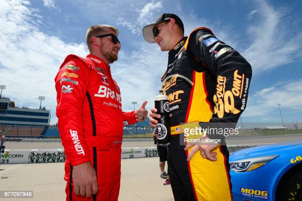 Justin Allgaier driver of the BRANDT Professional Agriculture Chevrolet talks to Daniel Hemric driver of the South Point Hotel Casino Chevrolet...