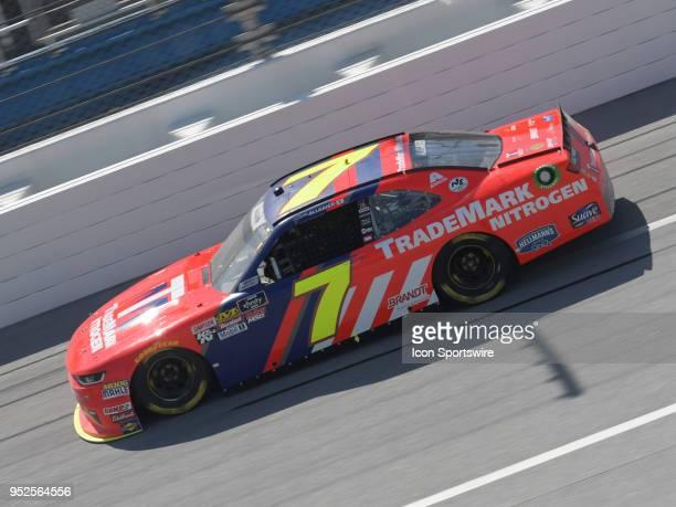 Justin Allgaier JR Motorsports Chevrolet Camaro TradeMark Nitrogen races through the tripoval during the NASCAR Xfinity Series Sparks Energy 300 on...