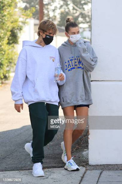 Justin and Hailey Bieber out for brunch on September 23 2020 in Los Angeles California