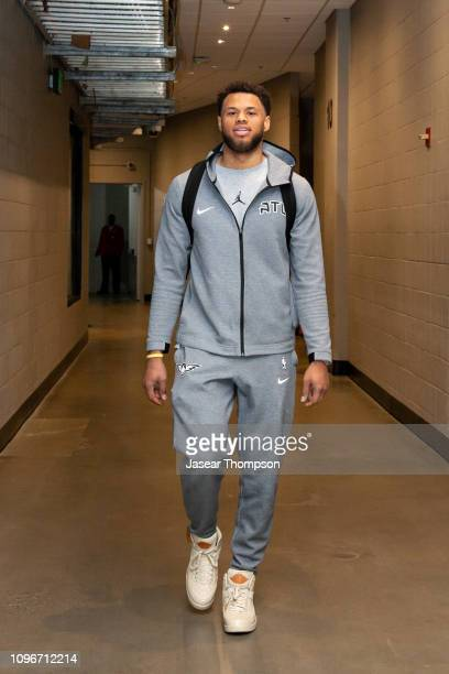 Justin Anderson of the Atlanta Hawks arrives before the game against the Charlotte Hornets on February 9 2019 at State Farm Arena in Atlanta Georgia...