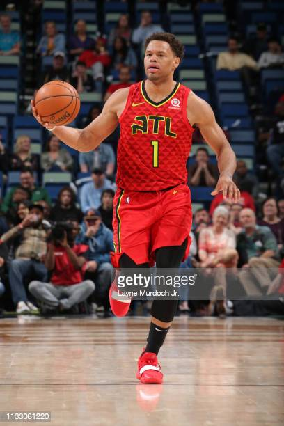 Justin Anderson of the Atlanta Hawks brings the ball up the court against the New Orleans Pelicans on March 26 2019 at the Smoothie King Center in...