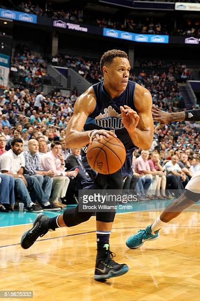 Justin Anderson of the Dallas Mavericks drives to the basket during the game against the Charlotte Hornets on March 14 2016 at Time Warner Cable...