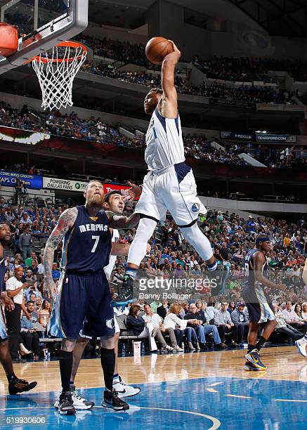 Justin Anderson of the Dallas Mavericks dunks against the Memphis Grizzlies on April 8 2016 at the American Airlines Center in Dallas Texas NOTE TO...