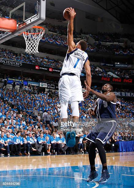 Justin Anderson of the Dallas Mavericks dunks the ball in Game Three of the Western Conference Quarterfinals against the Oklahoma City Thunder during...