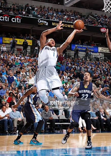 Justin Anderson of the Dallas Mavericks goes in for the layup against the Memphis Grizzlies on April 8 2016 at the American Airlines Center in Dallas...
