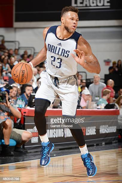 Justin Anderson of the Dallas Mavericks handles the ball against the Portland Trail Blazers on July 12 2015 at the Cox Pavilion in Las Vegas Nevada...