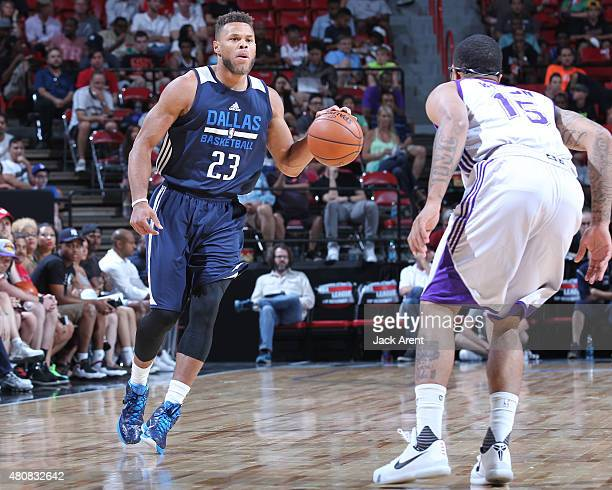 Justin Anderson of the Dallas Mavericks handles the ball against the Los Angeles Lakers on July 15 2015 at the Thomas Mack Center in Las Vegas Nevada...