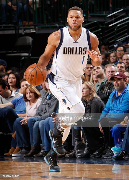 Justin Anderson of the Dallas Mavericks handles the ball against the San Antonio Spurs on February 5 2016 at the American Airlines Center in Dallas...