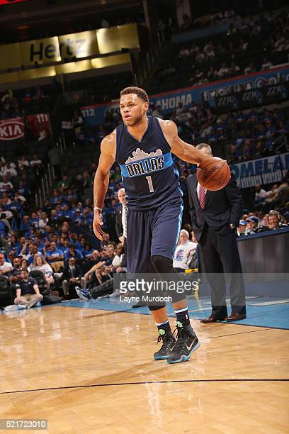 Justin Anderson of the Dallas Mavericks handles the ball against the Oklahoma City Thunder in Game One of the Western Conference Quarterfinals during...