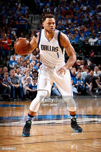 Justin Anderson of the Dallas Mavericks handles the ball against the Oklahoma City Thunder in Game Four of the Western Conference Quarterfinals of...