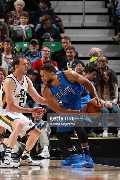 Justin Anderson of the Dallas Mavericks handles the ball against the Utah Jazz on November 2 2016 at vivintSmartHome Arena in Salt Lake City Utah...