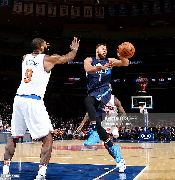 Justin Anderson of the Dallas Mavericks handles the ball against the New York Knicks during the game on November 14 2016 at Madison Square Garden in...