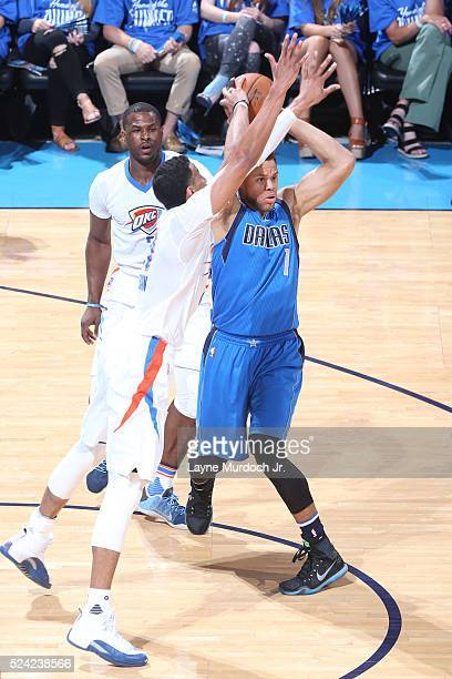 Justin Anderson of the Dallas Mavericks moves the ball against the Oklahoma City Thunder during Game Five of the Western Conference Quarterfinals...