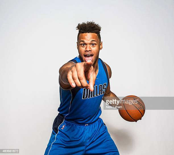 Justin Anderson of the Dallas Mavericks poses for a portrait during the 2015 NBA rookie photo shoot on August 8 2015 at the Madison Square Garden...