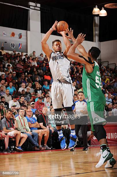 Justin Anderson of the Dallas Mavericks shoots the ball against the Boston Celtics during the 2016 NBA Las Vegas Summer League game on July 12 2016...