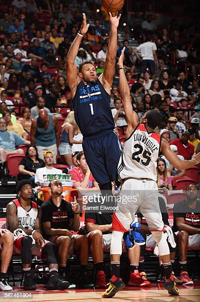 Justin Anderson of the Dallas Mavericks shoots the ball against the Chicago Bulls during the 2016 NBA Las Vegas Summer League game on July 14 2016 at...