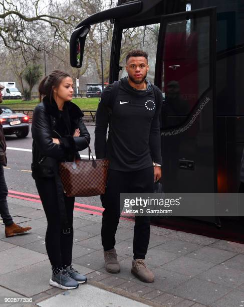 Justin Anderson of the Philadelphia 76ers arrives at the hotel as part of the 2018 NBA London Game at the Grosvenor House on January 9 2018 in London...