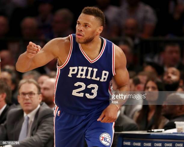 Justin Anderson of the Philadelphia 76ers celebrates his basket in the second half against the New York Knicks at Madison Square Garden on April 12...