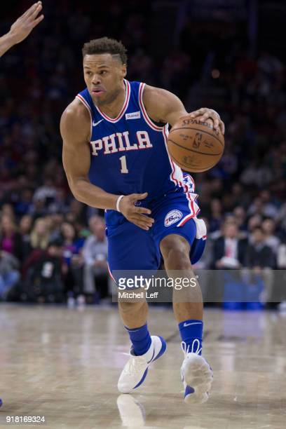 Justin Anderson of the Philadelphia 76ers drives to the basket against the New York Knicks at the Wells Fargo Center on February 12 2018 in...