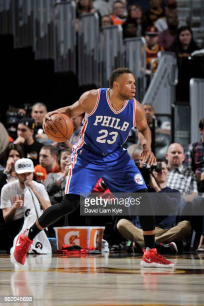 Justin Anderson of the Philadelphia 76ers handles the ball against the Cleveland Cavaliers during the game on March 31 2017 at Quicken Loans Arena in...