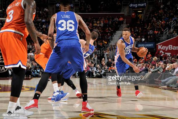 Justin Anderson of the Philadelphia 76ers handles the ball against the Cleveland Cavaliers on March 31 2017 at Quicken Loans Arena in Cleveland Ohio...