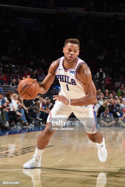 Justin Anderson of the Philadelphia 76ers handles the ball against the Boston Celtics on October 6 2017 in Philadelphia Pennsylvania at the Wells...