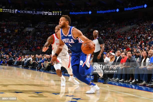 Justin Anderson of the Philadelphia 76ers handles the ball against the Houston Rockets October 25 2017 at Wells Fargo Center in Philadelphia...