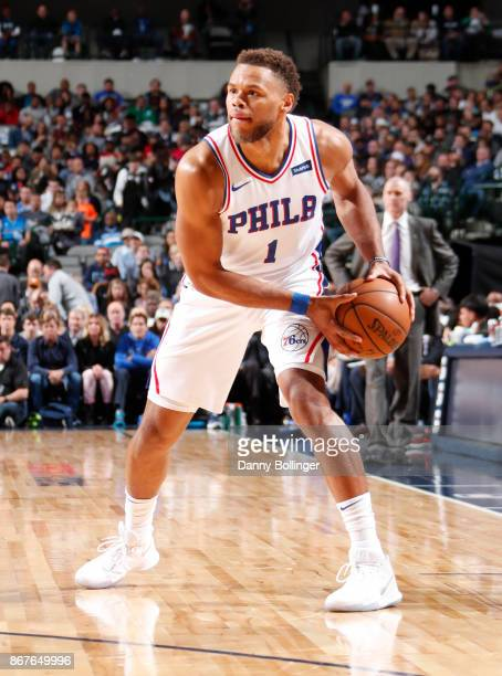 Justin Anderson of the Philadelphia 76ers handles the ball against the Dallas Mavericks on October 28 2017 at the American Airlines Center in Dallas...