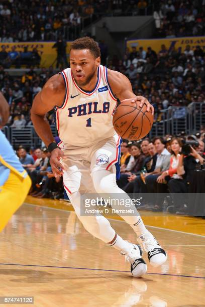 Justin Anderson of the Philadelphia 76ers handles the ball against the Los Angeles Lakers on November 15 2017 at STAPLES Center in Los Angeles...