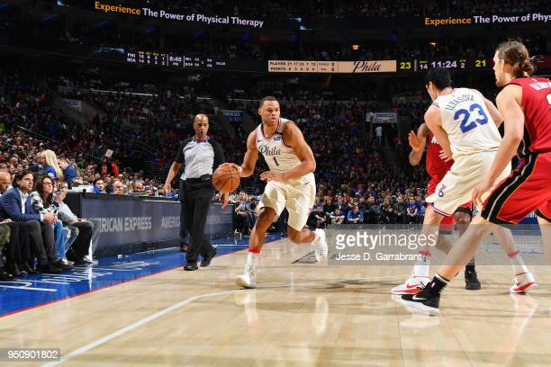 Justin Anderson of the Philadelphia 76ers handles the ball against the Miami Heat in Game Five of Round One of the 2018 NBA Playoffs on April 24 2018...
