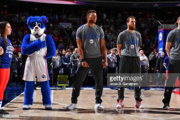 Justin Anderson of the Philadelphia 76ers looks on against the Milwaukee Bucks at Wells Fargo Center on March 6 2017 in Philadelphia Pennsylvania...