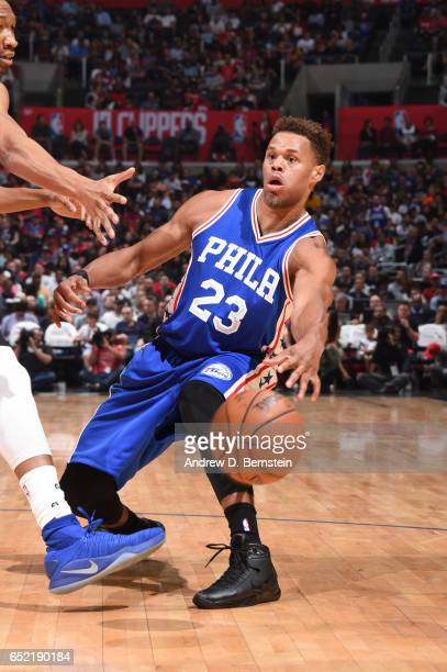 Justin Anderson of the Philadelphia 76ers passes the ball during a game against the LA Clippers on March 11 2017 at STAPLES Center in Los Angeles...