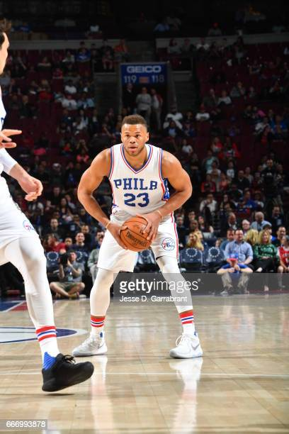 Justin Anderson of the Philadelphia 76ers passes the ball inside against the Indiana Pacers at Wells Fargo Center on April 10 2017 in Philadelphia...