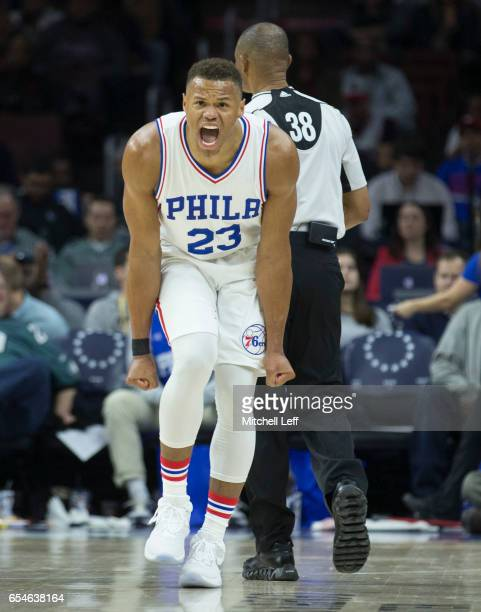 Justin Anderson of the Philadelphia 76ers reacts against the Dallas Mavericks at the Wells Fargo Center on March 17 2017 in Philadelphia Pennsylvania...
