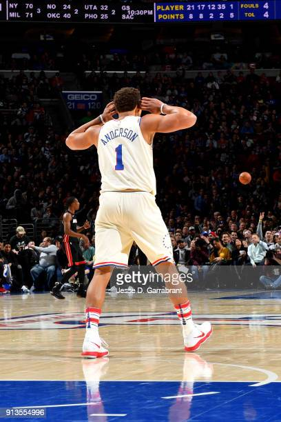 Justin Anderson of the Philadelphia 76ers reacts during the game against the Miami Heat on February 2 2018 in Philadelphia Pennsylvania NOTE TO USER...