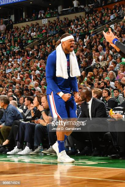 Justin Anderson of the Philadelphia 76ers reacts during the game against the Boston Celtics during Game Five of the Eastern Conference Semifinals of...