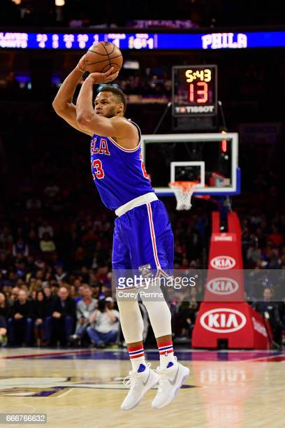 Justin Anderson of the Philadelphia 76ers shoots against the Milwaukee Bucks during the first quarter at the Wells Fargo Center on April 8 2017 in...