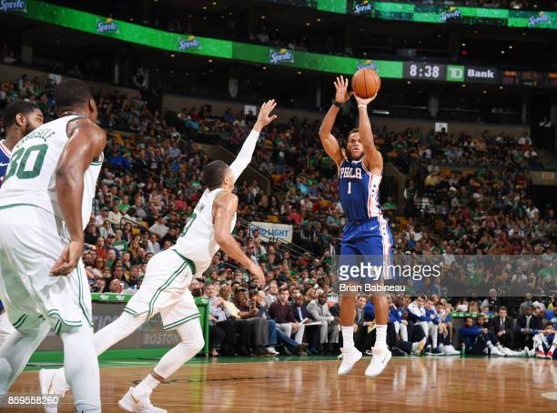Justin Anderson of the Philadelphia 76ers shoots the ball against the Boston Celtics during the preseason game on October 9 2017 at the TD Garden in...