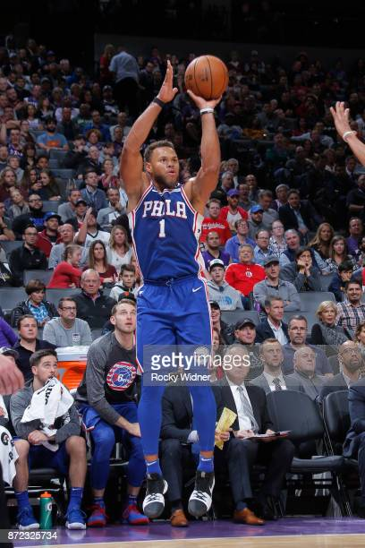 Justin Anderson of the Philadelphia 76ers shoots the ball against the Sacramento Kings on November 9 2017 at Golden 1 Center in Sacramento California...