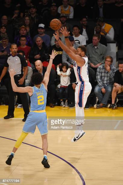 Justin Anderson of the Philadelphia 76ers shoots the ball against the Los Angeles Lakers on November 15 2017 at STAPLES Center in Los Angeles...