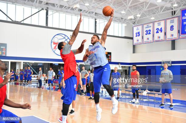 Justin Anderson of the Philadelphia 76ers shoots the ball during practice on September 27 2017 at the Sixers Training Complex in Camden New Jersey...