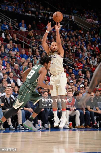 Justin Anderson of the Philadelphia 76ers shoots the ball during the game against the Milwaukee Bucks on April 11 2018 in Philadelphia Pennsylvania...