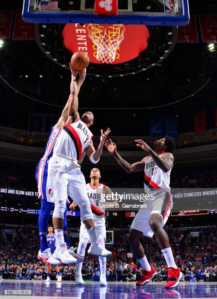 Justin Anderson of the Portland Trail Blazers grabs the rebound against the Philadelphia 76ers at Wells Fargo Center on November 22 2017 in...
