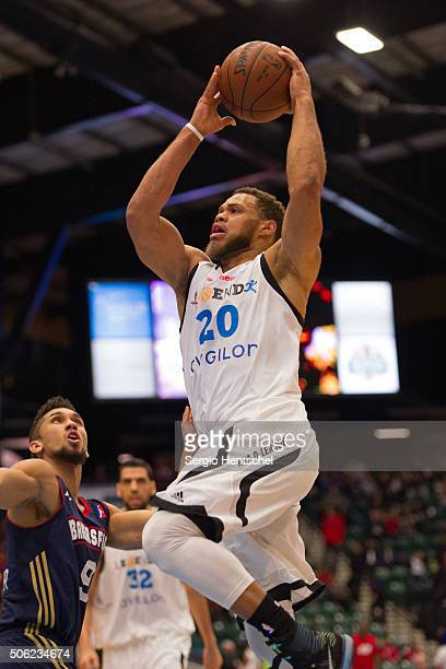 Justin Anderson of the Texas Legends drives to the basket against the Bakersfield Jam at Dr Pepper Arena on January 21 2016 in Frisco Texas NOTE TO...