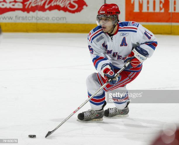 Justin Azevedo of the Kitchener Rangers carries the puck in a game against the London Knights on January 20 2008 at the John Labatt Centre in London...