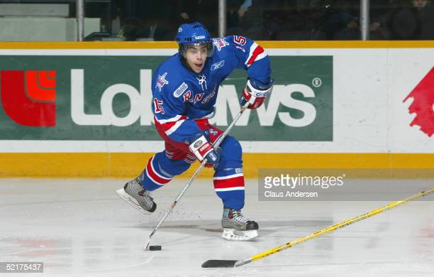 Justin Azevedo of the Kitchener Rangers shoots against the Peterborough Petes at Peterborough Memorial Centre on January 27 2005 in Peterborough...