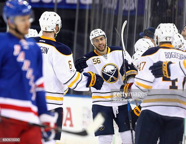 Justin Bailey of the Buffalo Sabres celebrates his first NHL goal at 103 of the second period against the New York Rangers at Madison Square Garden...